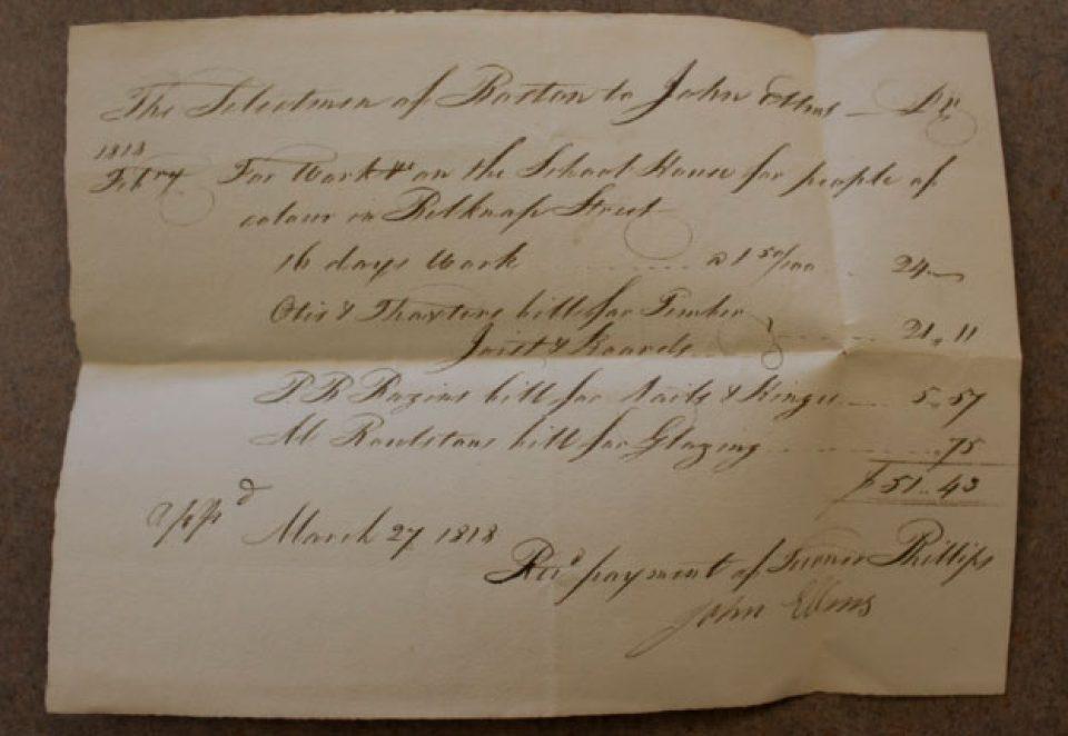 "Handwritten receipt ""For Work on the School House for people of colour in Belknap Street""."