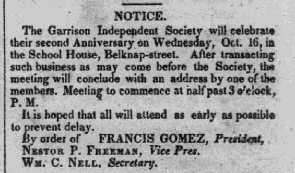 The Liberator Clip about a Juvenile Garrison Independent Society meeting on October 16, 1833