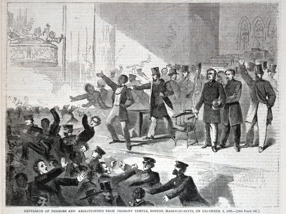 A wood engraving of the expulsion of African Americans and abolitionists from Tremont Temple, Boston.