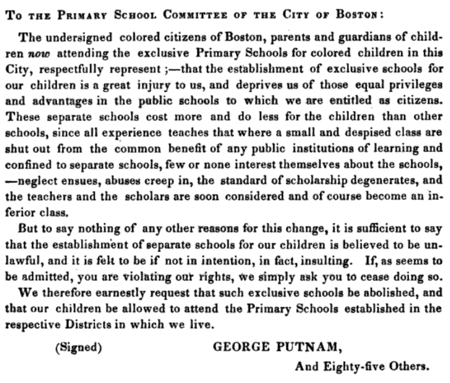 1846 Petition to Boston Primary School Committee
