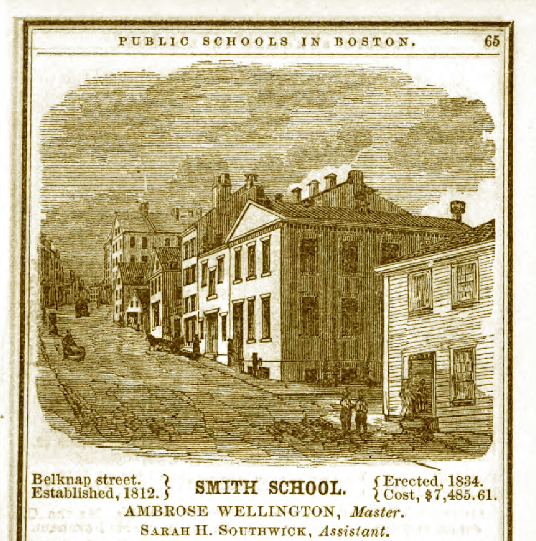 Black and white print of the Abiel Smith School on a hillside with other low lying buildings in a dense nineteenth century urban neighborhood