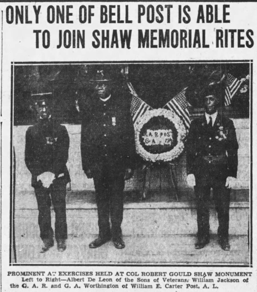 "Boston Globe article headline: ""Only One of Bell Post Is Able To Join Shaw Memorial Rites"""