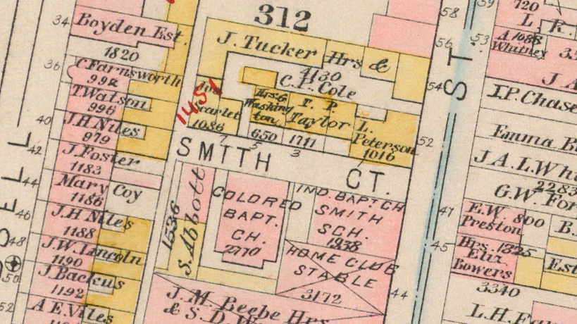 "Excerpt of a map centered on ""Smith Court""."