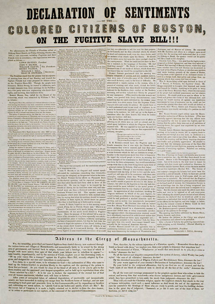 Declaration of Sentiments of the Colored Citizens of Boston